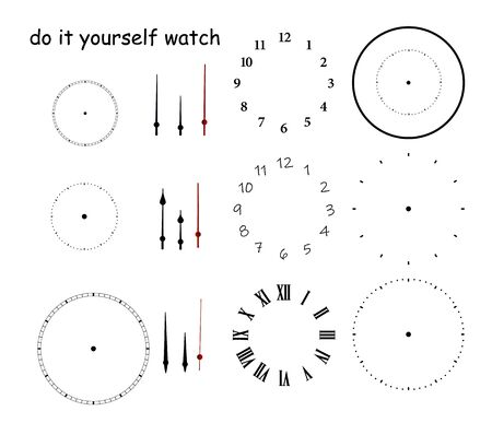 Blank clock face with hour, minute and second hands isolated on white background. Just set your own time 向量圖像
