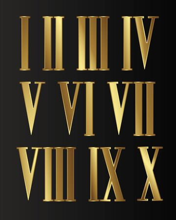 Set of gold, jewelry, isolated Steampunk Roman numerals with gears on black background.