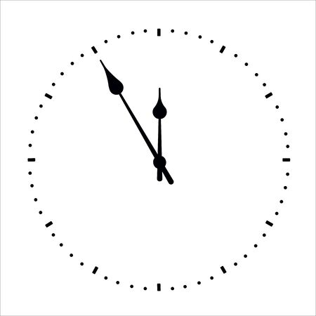 Clock face with shadow on white background. Vector illustration EPS 10