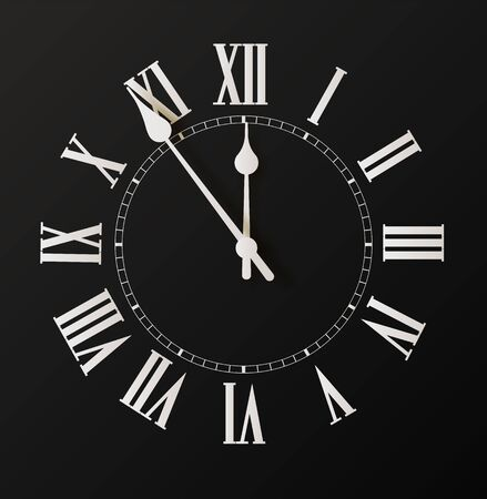 Round clock isolated on white background. Minimal concept. Flat lay. Vector illusration 向量圖像