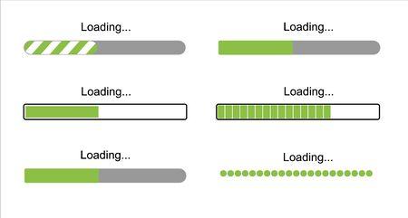 loading bar progress icons, load sign green vector illustration. System software update and upgrade concept. Vector illusration EPS 10