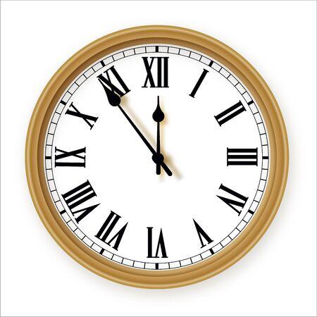 Classique avec un ensemble d'icônes d'horloge de bureau à cadran romain. Modèle de conception agrandi en vecteur. Maquette pour l'image de marque et la publicité isolée sur fond blanc.