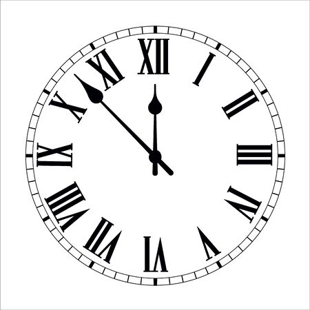 Clock face with shadow on white background. Vector illustration