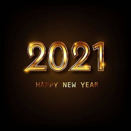 Happy new year 2021 banner.Golden Vector luxury text 2021 Happy new year. Gold Festive Numbers Design. Happy New Year Banner with 2021 Numbers. Vector illusration EPS 10 免版税图像 - 149435489