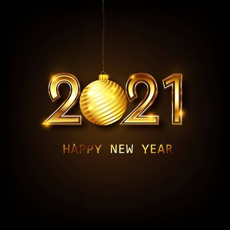 Happy new year 2021 banner.Golden Vector luxury text 2021 Happy new year. Gold Festive Numbers Design. Happy New Year Banner with 2021 Numbers. Vector illusration EPS 10