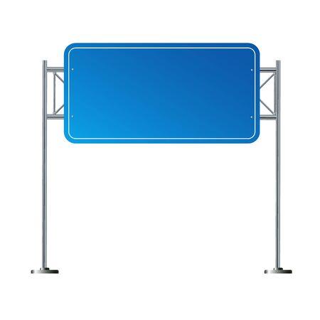 Side road blank blue sign. 3d illustration isolated on white background. Vector illustration EPS 10 矢量图像
