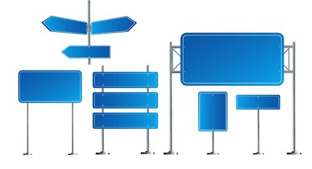 Road blue traffic signs set. Blank board with place for text. Mockup. Isolated information sign. Direction. Vector illustration EPS 10