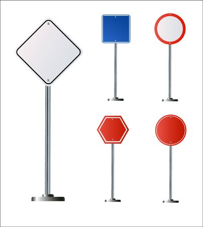 Set of road signs isolated on white background. Vector illustration . 免版税图像 - 149435493