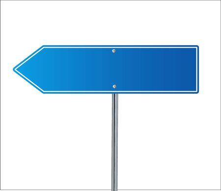 Side road blank blue sign. 3d illustration isolated on white background. Vector illustration EPS 10 Çizim