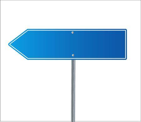 Side road blank blue sign. 3d illustration isolated on white background. Vector illustration EPS 10 Illustration