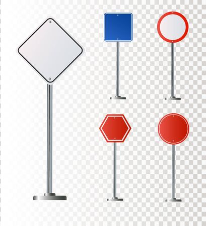 Set of road signs isolated on white background. Vector illustration . 免版税图像 - 149435506