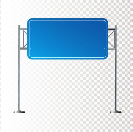 Side road blank blue sign. 3d illustration isolated on white background. Vector illustration EPS 10 Illustration