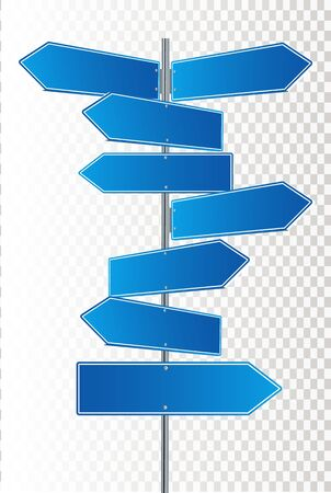 Direction road signs arrows on blue sky. Vector illustration EPS 10