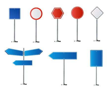 Set of road signs isolated on white background. Vector illustration .