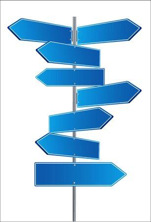 Direction road signs arrows on blue sky. Vector illustration EPS 10 免版税图像 - 148995893