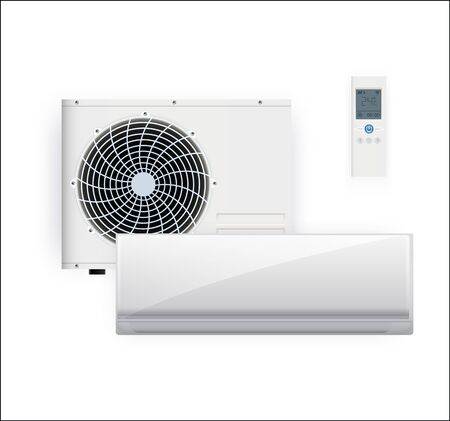 Split system air conditioner inverter. Cool and cold climate control system. Realistic conditioning with remote controller. Vector illustration EPS 10
