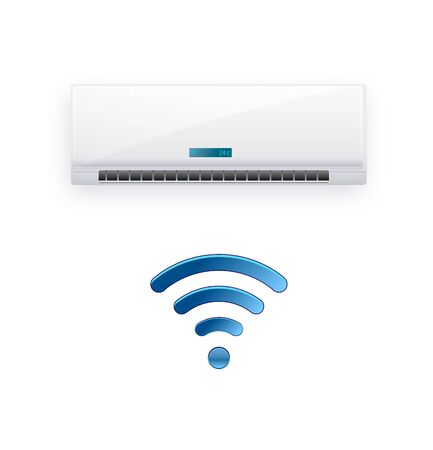 Split system air conditioner inverter. Cool and cold climate control system. Realistic conditioning with WiFi control over the Internet. Vector illustration EPS 10