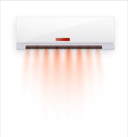 Vector air conditioner with hot air isolated. White air condition isolated on clear background in vector style. Illustration about electric equipment in house. Vector illustration EPS 10 向量圖像