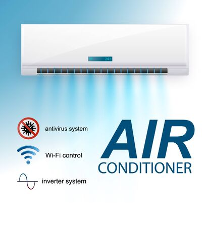 Split system air conditioner inverter . Realistic conditioning with with WiFi control over the internet and Antivirus features and remote control. Vector illustration climate control system.