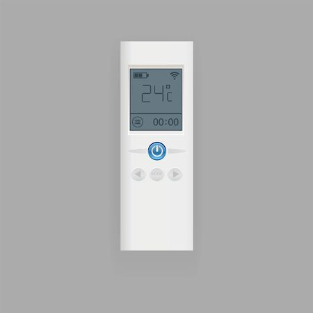 Remote control of air conditioner vector illustration, flat realistic remote controller equipment with display. Vector illustration climate control
