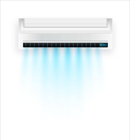 Vector air conditioner with fresh air isolated. White air condition isolated on clear background in vector style. Illustration about electric equipment in house. Vector illustration EPS 10
