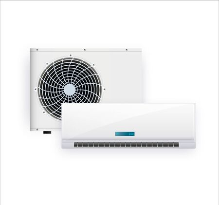 Air conditioner isolated on white photo-realistic vector. Vector illustration EPS 10