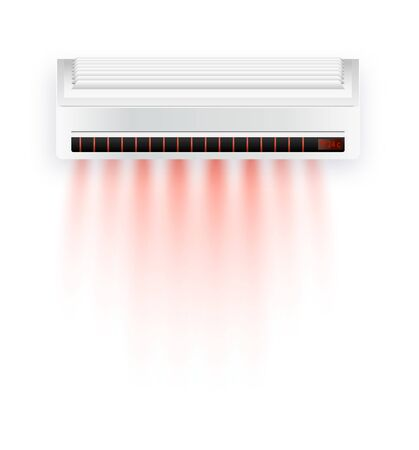 Vector air conditioner with hot air isolated. White air condition isolated on clear background in vector style. Illustration about electric equipment in house. Vector illustration EPS 10 Illustration