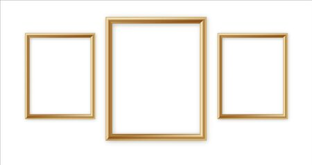 Wooden vector photo frame collection. 3D picture frame design vector for image or text. Vector illustration