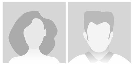 Default Placeholder Avatar Profile on Gray Background.Vector illustration Man and Woman 向量圖像