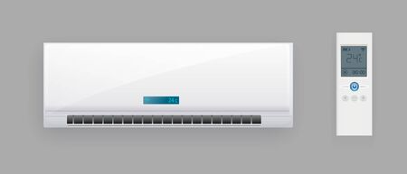 Air Conditioner System With Remote Control Vector. Cooling And Heating Block Of Conditioner. Climate Electronic Technology Equipment Template. Vector illustration EPS 10