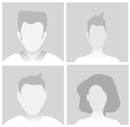 Default Placeholder Avatar Profile on Gray Background.Vector illustration Man and Woman Illustration