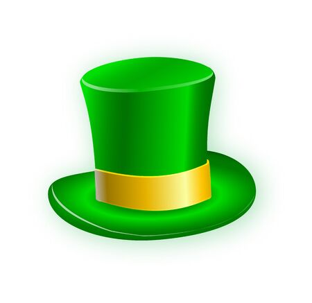 Green leprechaun hat isolated on a white background with a yellow ribbon. Vector hat illustration EPS10