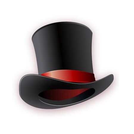 Black cylinder hat with red ribbon. Magic hat. Vector hat illustration EPS10