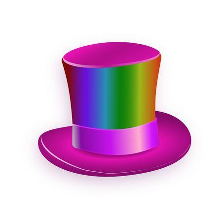 Rainbows big gentleman hat cylinder with rainbow color. 免版税图像 - 150118810
