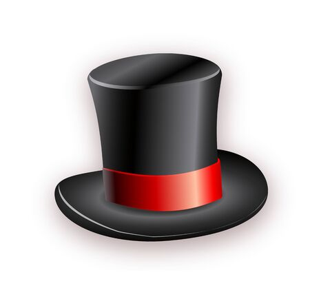 Black cylinder hat with red ribbon. Magic hat. Vector hat illustration EPS10