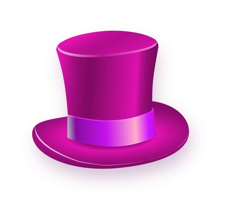 Purple big gentleman hat cylinder with rainbow color. Illustration