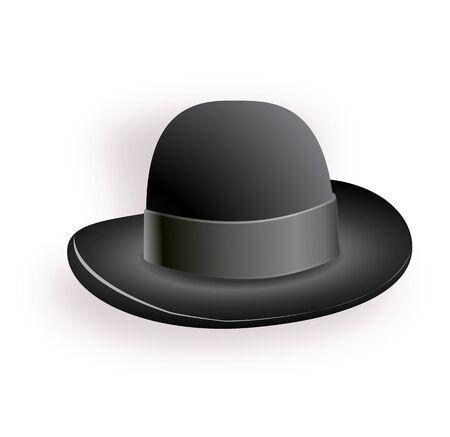 Chapeau noir avec ruban noir. Chapeau magique. Illustration de chapeau de vecteur Eps10