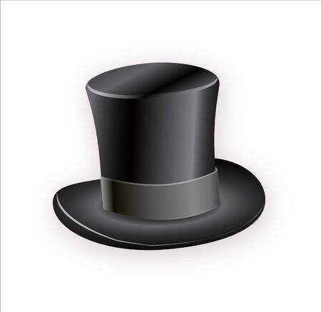 Black cylinder hat with black ribbon. Magic hat. Vector hat illustration EPS10 Illustration