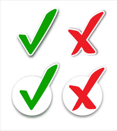 Checkmark cross on white background. Isolated vector sign symbol. Checkmark right symbol tick sign. Flat vector icon.