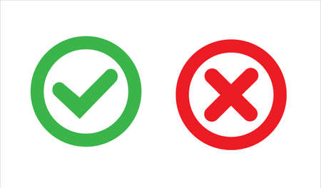 Green check mark icon in a circle. Tick symbol in green color, vector illustration. 矢量图像