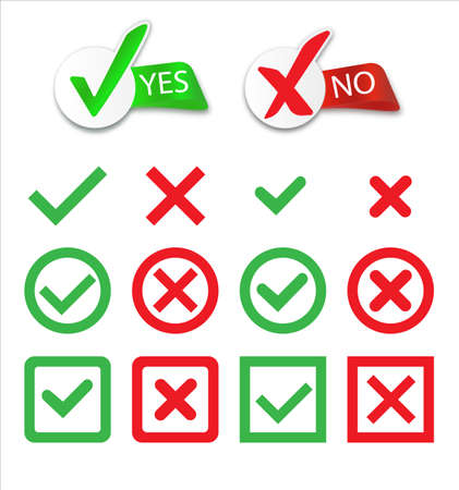 Yes and No check marks. Cross check mark icons, flat round buttons set.