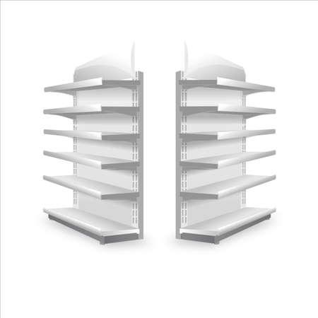 Shelving rack for store trading empty template for design stock vector illustration isolated on white background