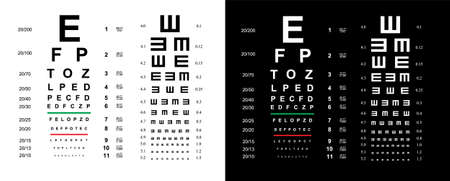 Eyes test charts with latin letters isolated on background. Art design medical poster with sign. 矢量图像