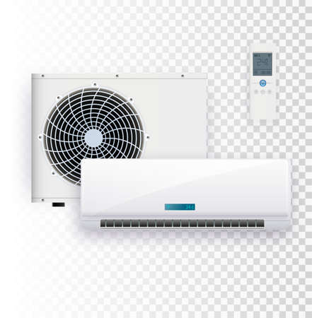 Climate system with outdoor and indoor unit vector illustration of air conditioner.