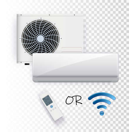 Climate control system with wifi remote control on transparent background.