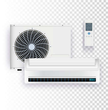 Vector set of air conditioner installation on transparent background.