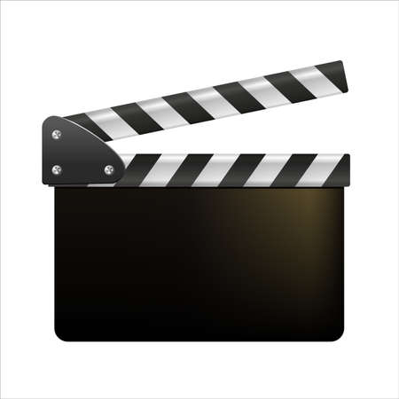 Film clappers boards isolated on white background. Blank movie clapper cinema. Vector movie clapper board EPS .