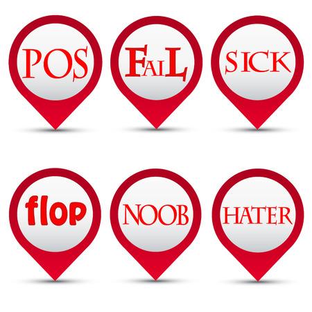 Vector buttons slang words Ilustração