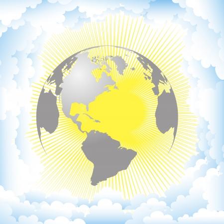 Planet Earth against the sun Illustration
