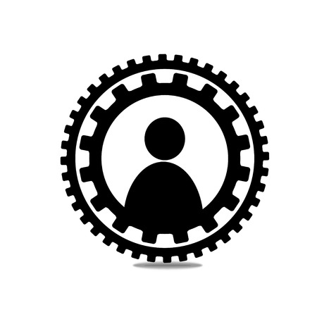 Icon people in a circle of gears Illustration